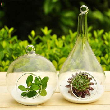 1 Pcs Hot Clear Glass Round with 1 Hole Flower Plant Stand Hanging Vase Hydroponic Home Wedding Decor