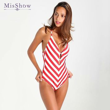 Red Striped Swimsuit Vintage High Waist One Piece Swimsuit Lengthen the Body Swimwear for Girls 2018 New