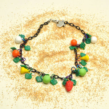 West German Vintage Fruit and Leaf Necklace with Sterling Silver Apple Clasp