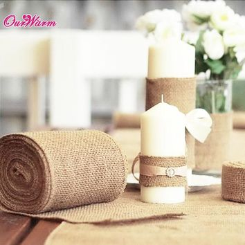 33'x6 Vintage Jute Burlaps Roll Table Runner Party Chair Sashes Valentine Day