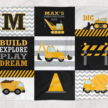 CONSTRUCTION Blanket Pillow Set, Construction Decor, Construction Trucks Nursery Bedding, Personalized Boy Name Blanket Baby Boy Shower Gift