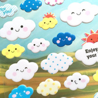happy cloud sticker white cloud colorful cloud Weather sticker cute cartoon 3D sticker Weather theme happy smiley face emoji decor sticker