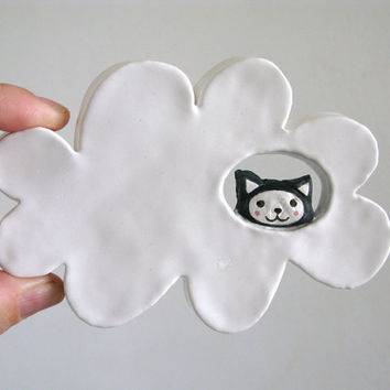 Ceramic Wall Hanging - Kitty Cloud - Cat in the Clouds