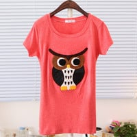 Spring Owl Character Cute Short Sleeve Tee Multiple Colors