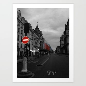 Paris black and white with color Art Print by Mr Splash