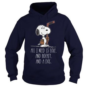 Snoopy All need is love and hockey and a dog shirt Hoodie
