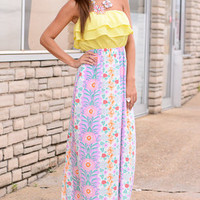 Pretty In Pastels Maxi, Purple-Yellow