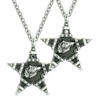 Howling Wolf Super Star Pentacle Power Love Couples or Best Friends Black White Crystals Amulet Necklaces