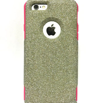 Custom iPhone 6 (4.7 inch) Glitter Otterbox Commuter Cute Case,  Custom  Glitter White Gold / Pink Otterbox Color Cover for iPhone 6