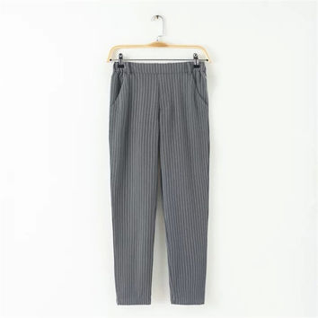Summer Women's Fashion Stripes With Pocket Pants [4920285188]