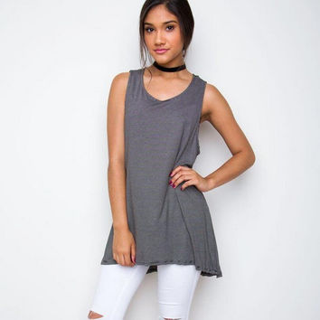 Grey Sleeveless Back Split Dip Hem Long Blouse