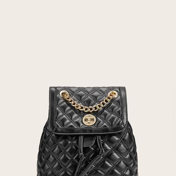 Twist Lock Flap Quilted Backpack