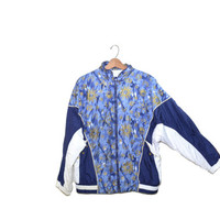 Vintage Bomber Jacket Celestial Bomber Jacket Sun and Moon Bomber Jacket 90s Windbreaker Jacket Blue and Gold Jacket