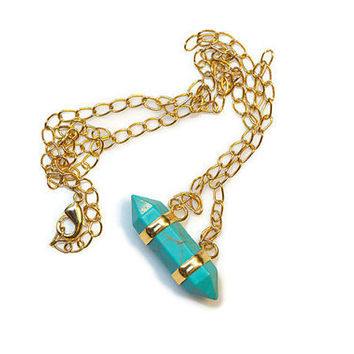 Teal Gemstone Crystal Necklace With Gold Chain - PeysDesigns