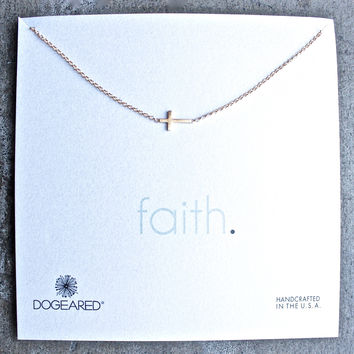 dogeared whispers sideways cross necklace in gold dipped