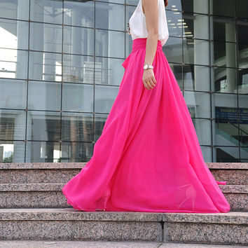 High Waist Maxi Skirt Chiffon Silk Skirts Beautiful Bow Tie Elastic Waist Summer Skirt Floor Length Long Skirt (037), #94