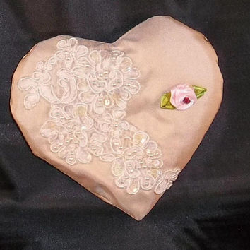 Bridal VALENTINE'S DAY HEART Baby Pink Silk by TheMaineCoonCat