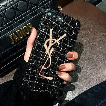 YSL Trending Stylish Shiny Diamond Metal Letter All-Inclusive iPhone Phone Cover Case For iphone 6 6s 6plus 6s-plus 7 7plus iPhone8 iPhone X Black I12787-1