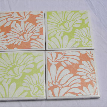 4 Tile Coasters in Summertime Demasque Theme