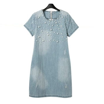 NEW 2016 Fashion Summer Dress Pearl Beaded Decor Dresses Women Dress Denim Loose Short Sleeve Jeans Dress *35