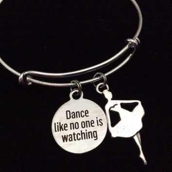 Dance Like No One is Watching Stamped Charm Silver Expandable Wire Bangle Bracelet Dancer Ballet Teacher Gift