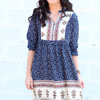 Summer Breeze Boho Print Dress {Navy Mix}