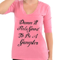 Damn It Feels Good To Be A Gangster - Football V-Neck Tee