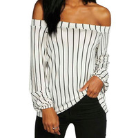 White Striped Off the Shoulder Long Sleeve Blouse