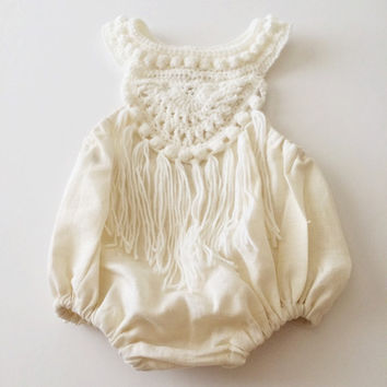 Boho Hand crocheted bubble romper