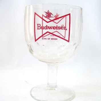 vintage goblet wine glass budweiser beer red stemware glassware drinking barware mid century modern retro serving entertaining men man cave