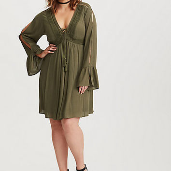 Olive Lace Up Gauze A-Line Dress