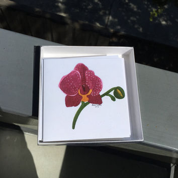 Orchid Watercolor Card Set- Blank Note Cards- Correspondence Cards - Blank Cards for Any Ocassion- Blank Greeting Cards - Card Set of Five