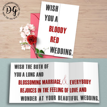 "Game of Thrones Red wedding card ""Wish you a blood red wedding"""