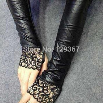 Sexy women's PU leather semi-finger ultra long gloves fingerless gloves sleeves female black color lace glove 41cm length