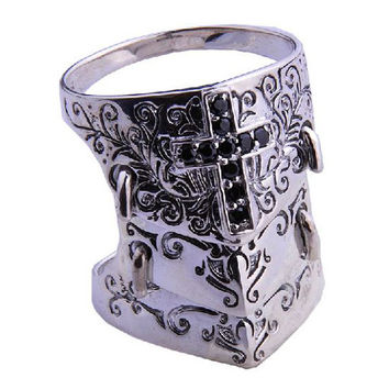 Holy Cross Knights Crusade Ring 3 Armored Design Men's Cool Jewelry .925 Silver-Size 11