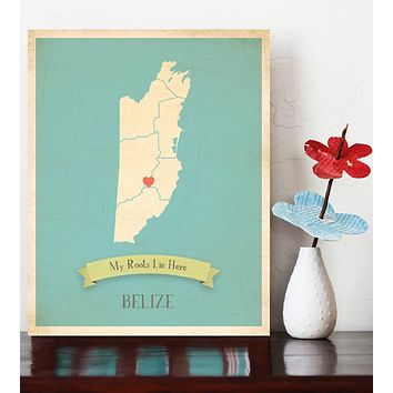 My Roots Personalized Oversize Country Maps Prints, Educational, Playroom Decor