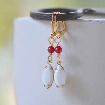White Navette Dangle Earrings with Red Jade Stones. Jewelry Gift. Drop Earrings. Vintage Inspired Red and White Drop Earrings.