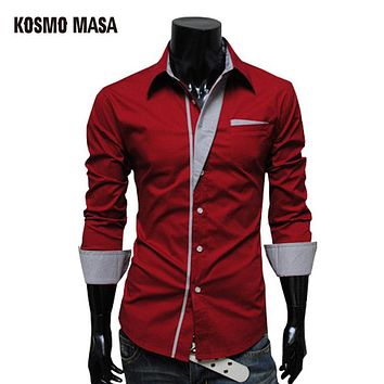 Turn-Down Collar Casual Plaid Shirt Men's Wrinkle  Slim Fit Dress Shirts with Solid Long Sleeve