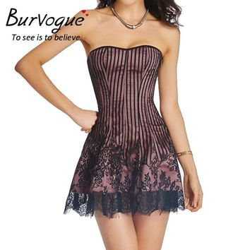 Burvogue Women Steampunk Corset Dress Lace Strap Party Dress Sexy Corset and Bustier Push Up Gothic Overbust Corset Dress