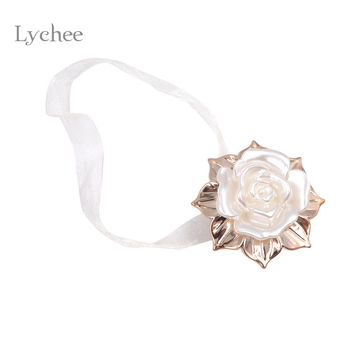 Lychee Gold Leaf White Rose Design Ribbon Magnetic Curtains Tieback Magnet Curtain Holdback Hook Window Curtain Accessories