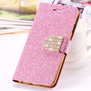 MOQ:1PCS Luxury Sexy Women Girl Glitter Bling Diamond Leather Case For Apple iPhone 5 5S 5G Stand Wallet Pouch Cover For iPhone5