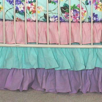 Waterfall Ruffle 3 Tier Crib Skirt | Pastels Pink, Blue and Lavender
