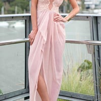 Pink Floral Lace Sleeveless V-Cut Back Wrap Maxi Dress