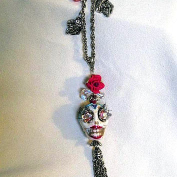 Day of the Dead Necklace Handmade, Día de Muertos, Vintage Swarovski Crystals, White Mexican Sugar Skull Pendant Necklace,  One Of A KInd