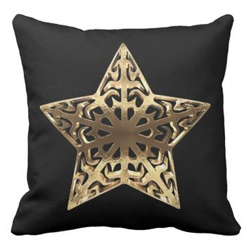 Star Black and Gold Look Elegant Christmas Decor Throw Pillow