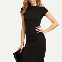 Black Cap Sleeve Crew Neck Sheath Dress -SheIn(Sheinside)