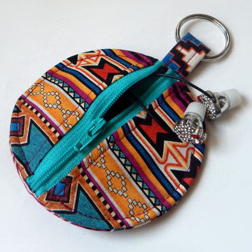 Tribal Print / Earbud Holder / Turquoise / Aztec / Coin Purse / Circle Pouch / Gold