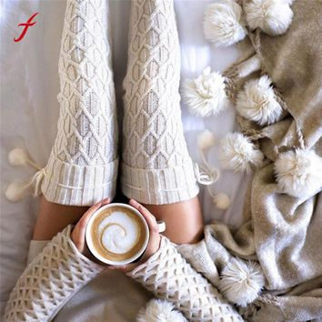 Feitong Winter Warm Socking For Women Balls Knitted Long Boot Socks Over Knee Thigh High Stocking Over Knee High Socks korean