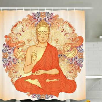 Buddha Image Boho Fabric Shower Curtain