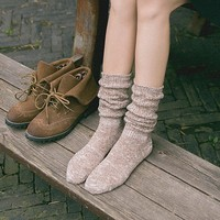 Long Womens Wool Scrunch Socks